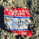 35 year old crisp packet found on a beach clean (c) Final Straw Solent