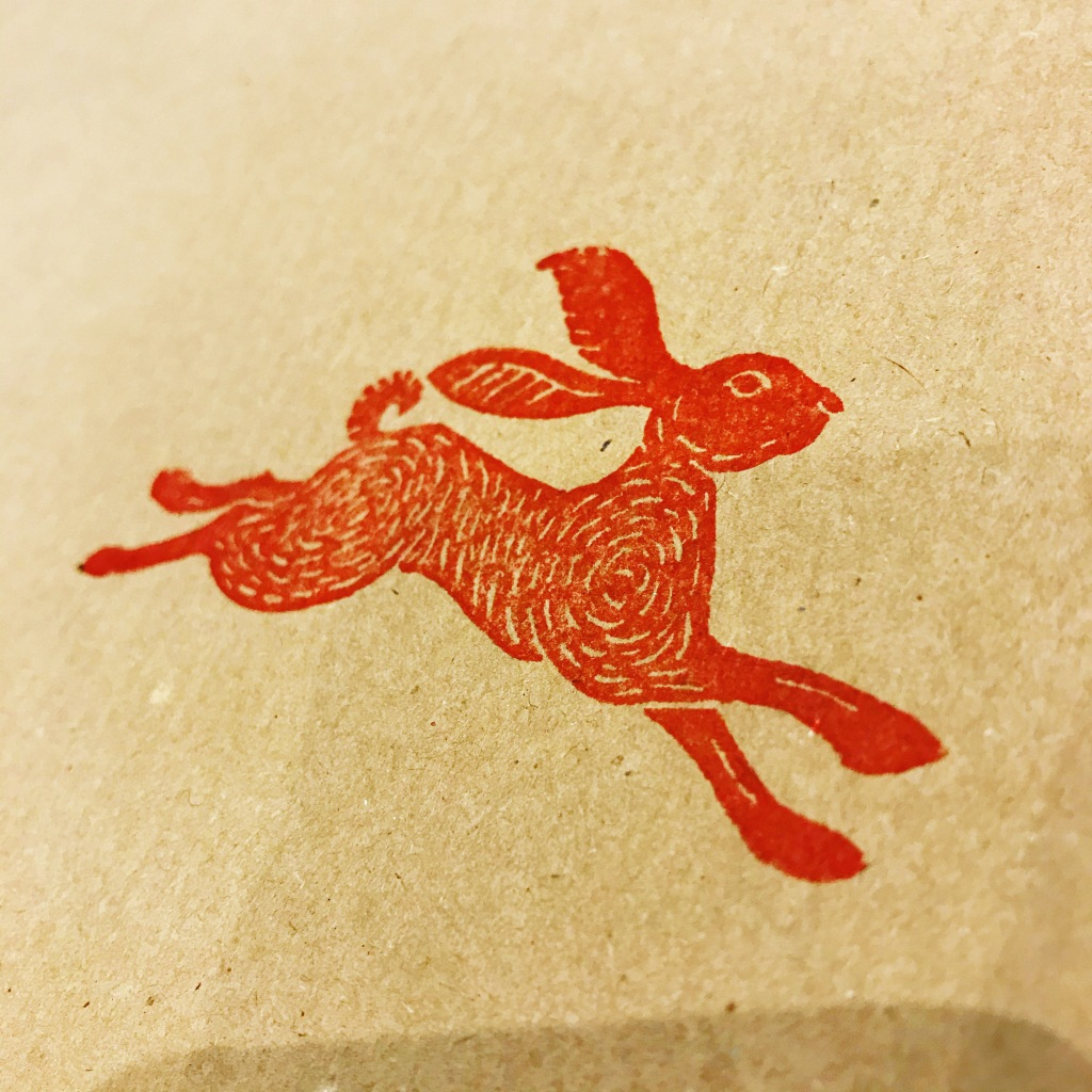 Brown paper wrapping paper hare stamp