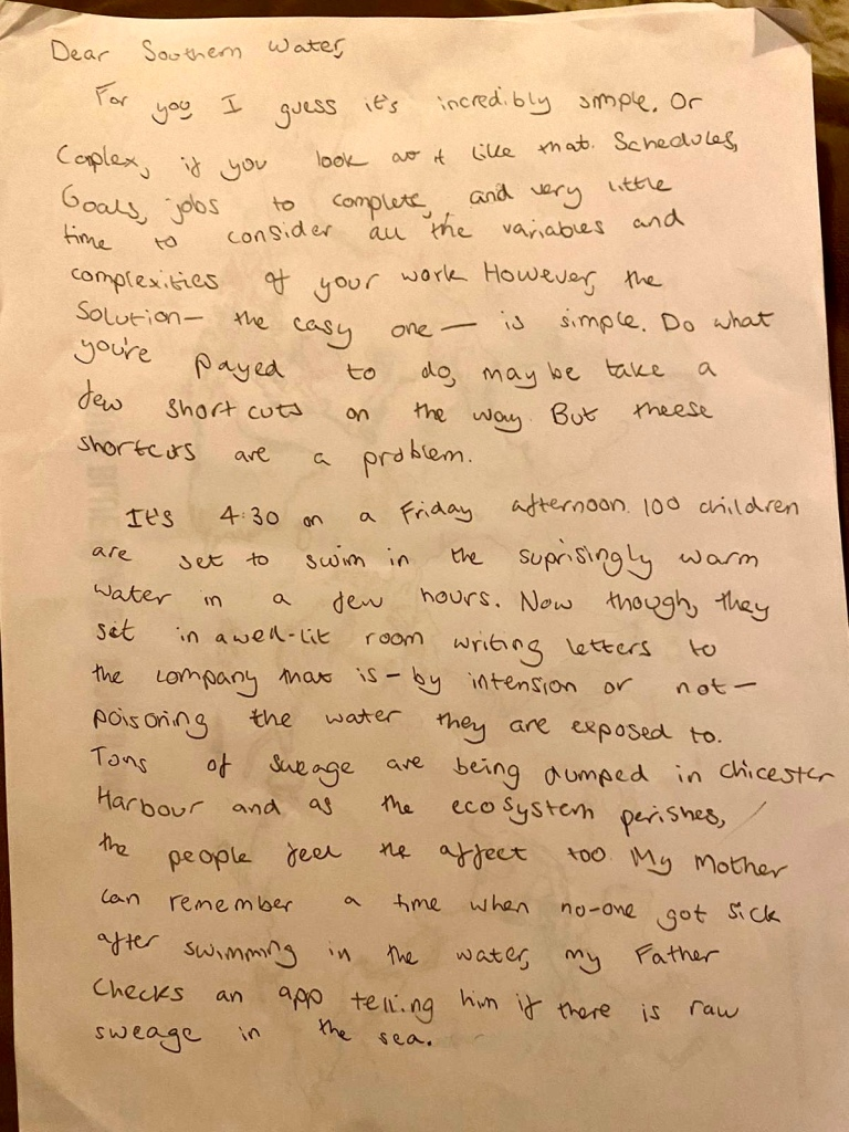 Letter by 12 year old Ruthie Gawley to Southern Water about sewage discharges